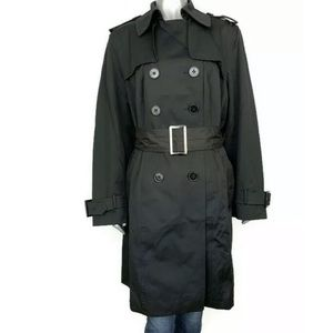 London Fog Black Double Breasted Trench Coat 1X